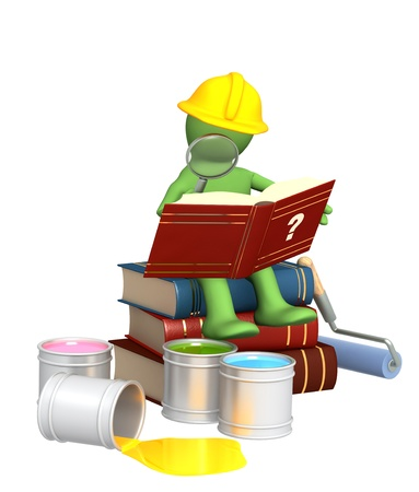 instruction manual: Puppet, studying repair manual. Isolated over white Stock Photo