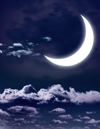 crescent: Night fairy tale - bright moon in the night sky Stock Photo