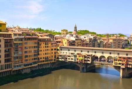 ponte vecchio: Ponte Vecchio. View from window of the Galleria degli Uffizi  Stock Photo