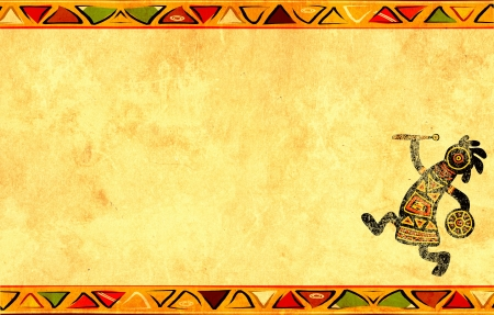 indigenous culture: Dancing musician. Grunge background with African traditional patterns