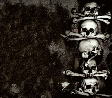 horror background: Human skulls and bones, Kutna Hora, Czech