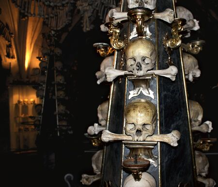 Candlestick with human skulls and bones, Kutna Hora, Czech Stock Photo - 15552033