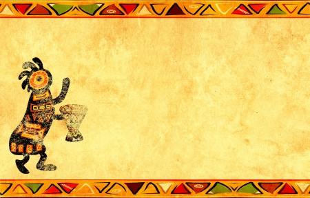 african drums: Dancing musician. Grunge background with African traditional patterns