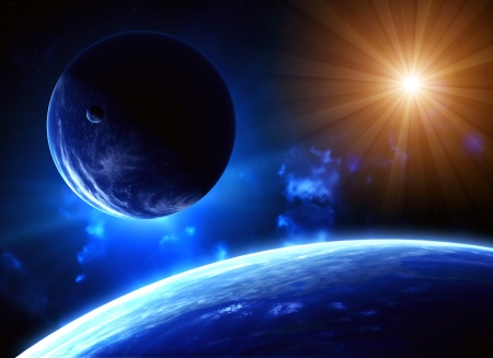 Space flare. A beautiful space scene with planets and sun Stock Photo - 15798889