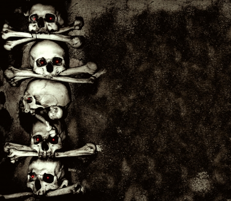 body parts: Grunge background with human skulls and bones Stock Photo