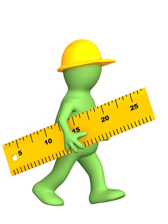 width: 3d builder with ruler. Isolated over white Stock Photo