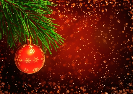 holiday lighting: Horizontal background with christmas ornament