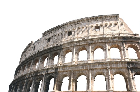 rome italy: Ancient Colosseum, Rome, Italy. Isolated over white