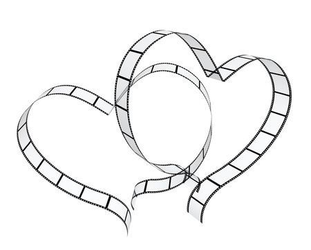 3d film: Two filmstrips in hearts shape. Isolated over white