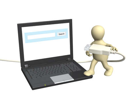 3d puppet with laptop and usb cable. Isolated over white Stock Photo