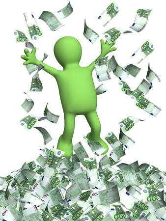 loteria: Feliz títere y una lluvia de dinero. Aislado en blanco