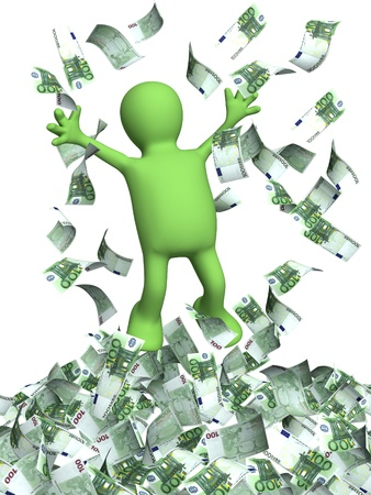 falling money: Happy puppet and a money rain. Isolated over white Stock Photo