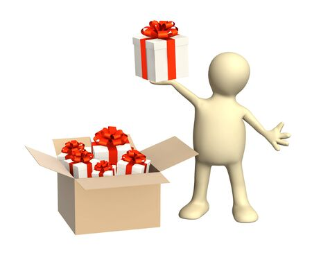 3d puppet with gifts. Isolated over white Stock Photo - 16240875