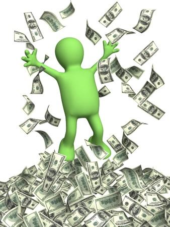 Glückliche Marionette und eine Geld-regen. Isolated over white Standard-Bild