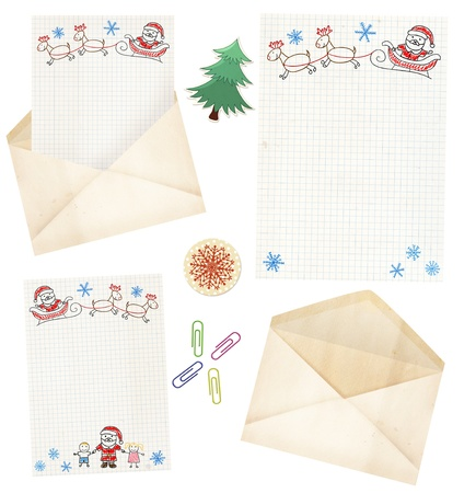 dear: Letter to Santa Claus. Collection of elements for Christmas design