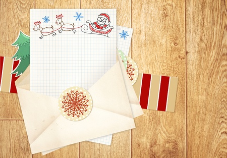 Christmas background with letter to Santa Claus photo
