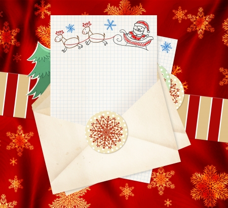 Christmas background with letter to Santa Claus Stock Photo - 16240886