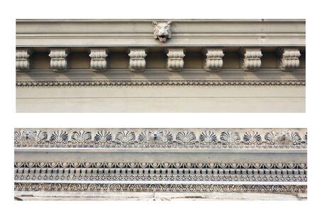 friso: Detalles de los antiguos frisos ornamentales. Aislado en blanco