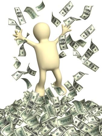 hombre cayendo: Feliz títere y una lluvia de dinero. Aislado en blanco