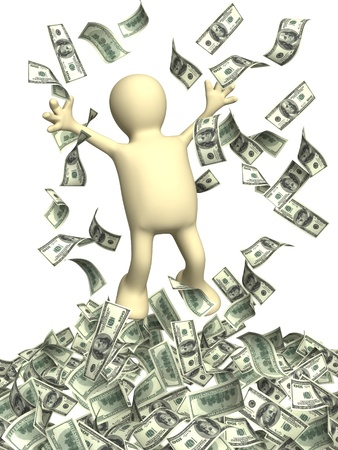 Happy puppet and a money rain. Isolated over white Stock Photo - 16332042