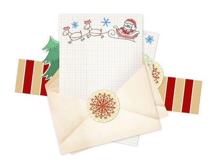 Letter to Santa Claus. Collection of elements for Christmas design Stock Photo - 16332032