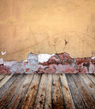 Old room with stucco wall and wooden floor Stock Photo - 16332045