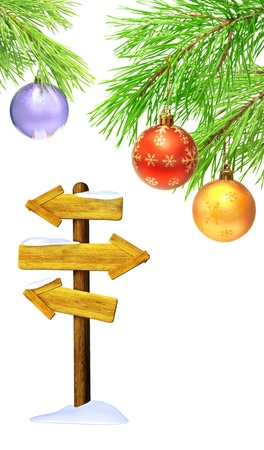 Old signboard and christmas ornaments. Isolated over white Stock Photo - 16332038