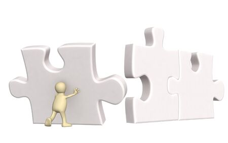 3d puppet, supporting falling parts of puzzles. Isolated over white photo