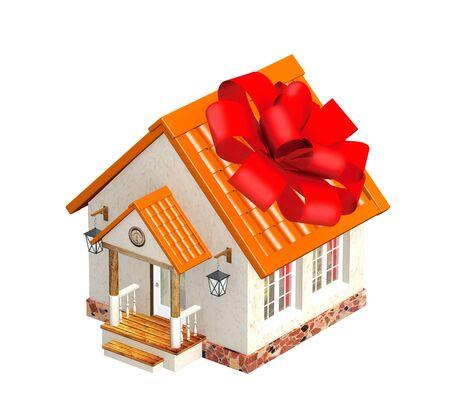 Casa in confezione regalo. Isolato su bianco photo