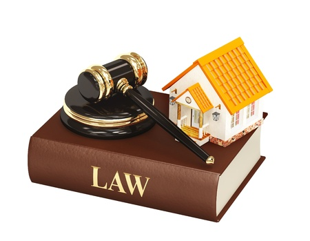 business law: House and law. Object isolated over white Stock Photo