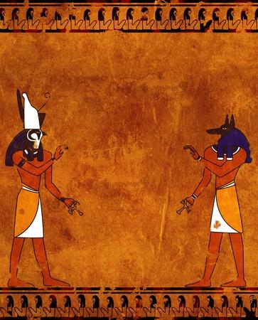 horus: Fondo con imágenes de dioses egipcios - Anubis y Horus Foto de archivo