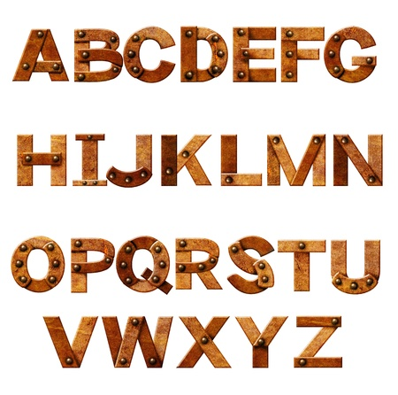 Alphabet - letters from rusty metal with rivets. Isolated over white Stock Photo - 16455557
