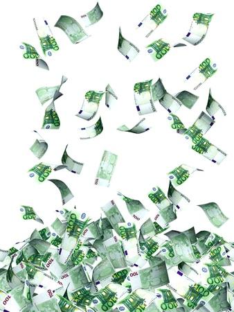 money flying: Flying billetes en euros. Aislado en blanco Foto de archivo