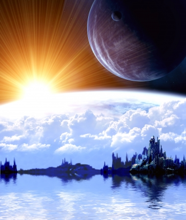 scifi: Collage - landscape in fantasy planet
