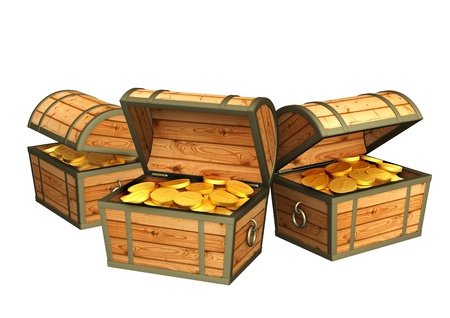 Three wooden boxes with treasures. Isolated over white Stock Photo - 16550228