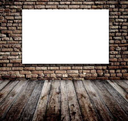 Old room with white screen on brick wall Stock Photo - 16550246
