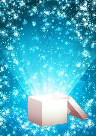 Christmas background with magic box Stock Photo - 16550242