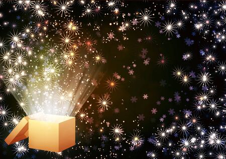 Christmas background with magic box Stock Photo - 16550239