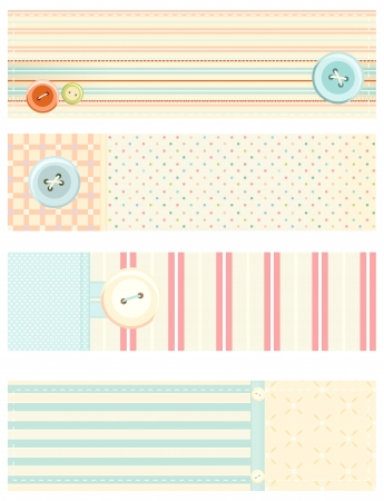 Set of banners in shabby chic style  Vector