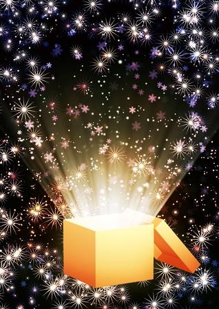 Christmas background with magic box Stock Photo - 16720423