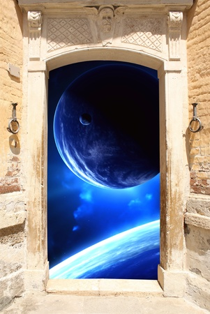 Frame with ancient door and space scene Stock Photo - 16721877