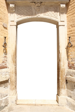Ancient door. Isolated over white Stock Photo - 16721876