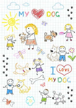 Childrens and dogs. Sketch on notebook page