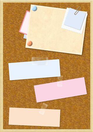 cork sheet: Sheet of paper on cork board Stock Photo