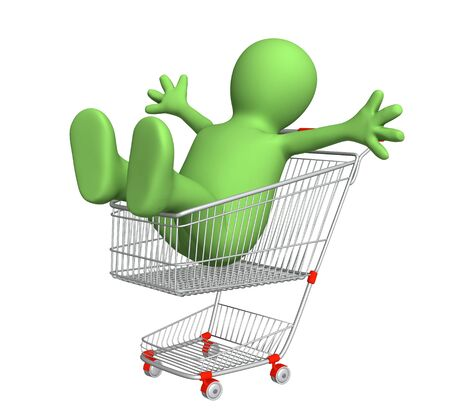 Happy puppet in shopping cart. Isolated over white Stock Photo - 17622495