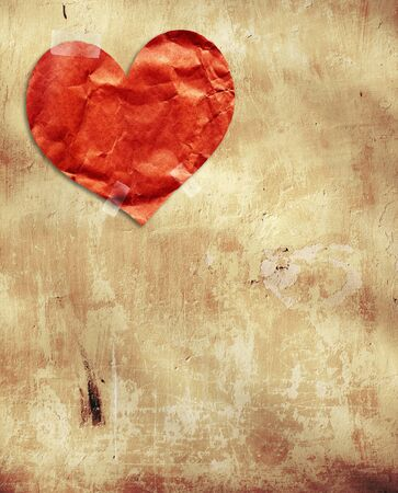 Grunge valentine background with paper heart Stock Photo