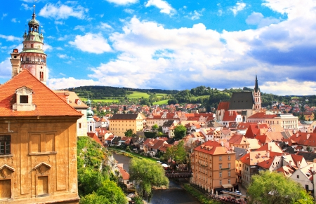 View of old Bohemian city Cesky Krumlov, Czech Republic photo
