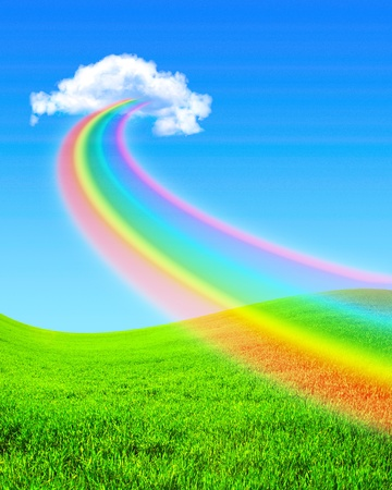 Beautiful bright rainbow in the blue sky photo
