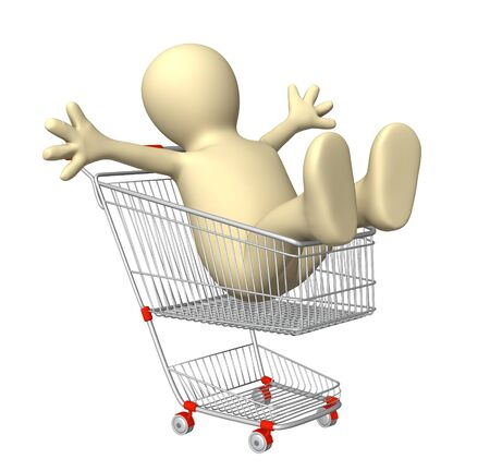 shopaholics: Happy puppet in shopping cart. Isolated over white