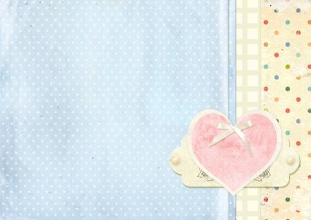 Vintage grunge valentine background with pink heart photo